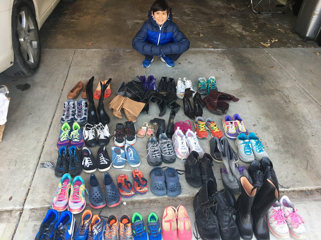 Yasseen was able to collect and donate 56 pair assorted footwear